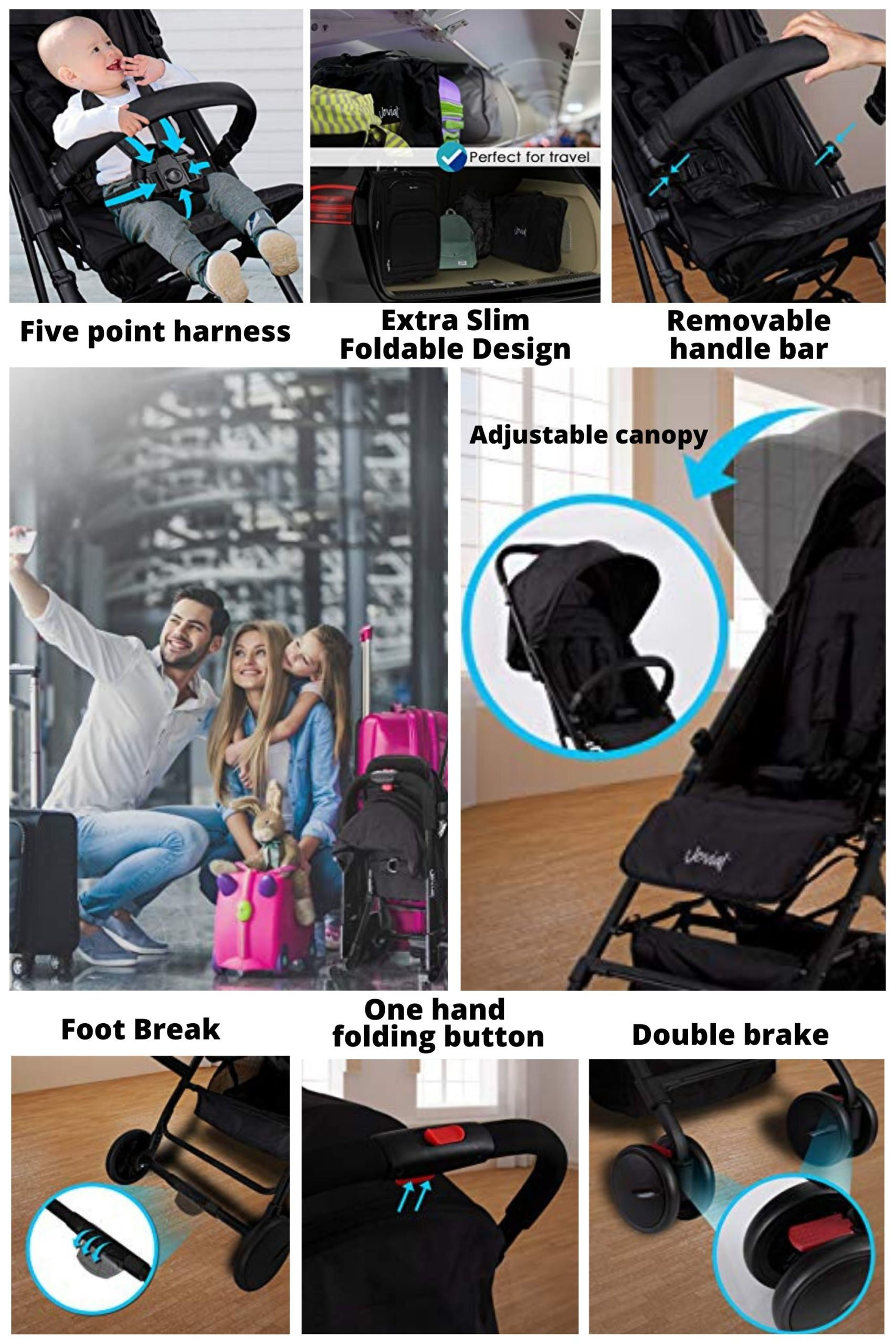 features of Portable Folding Lightweight Baby Stroller